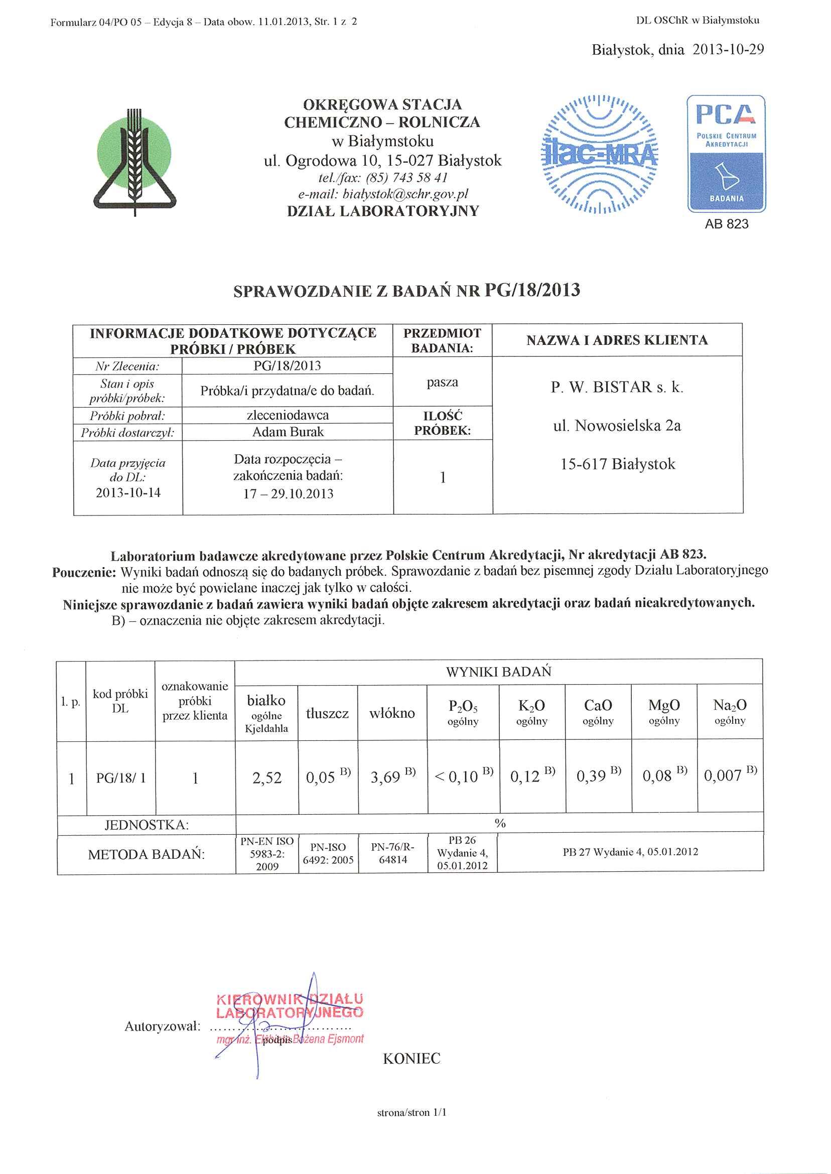 Protokół badań BEZ GMO Wysłodki BISTAR
